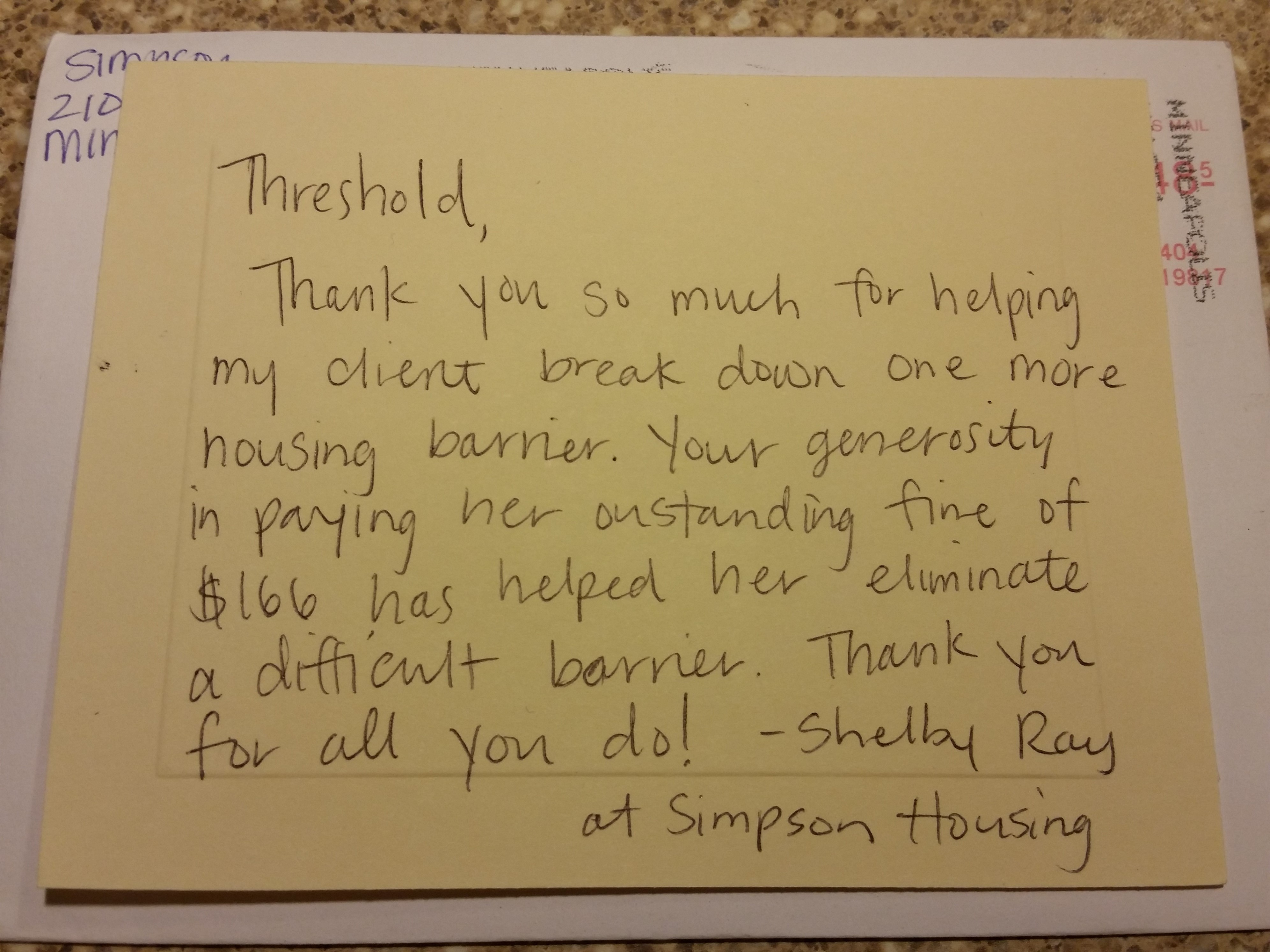 TY note from Simpson Housing 2015-11
